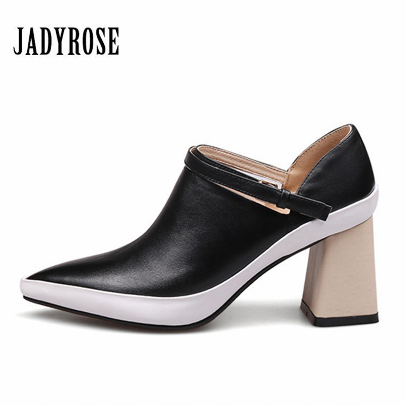 JADY ROSE Pointed Toe Women Pumps 7CM Chunky High Heels Mary Janes Dress Shoes Woman Stiletto Valentine Shoes Ankle Boots