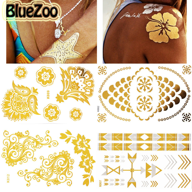 Bluezoo 15pcs Pack Europe Metallic Tattoo Sticker Waterproof Transferable Body Art Jewelry Flash Temporary Tattoos Beauty Tips Metallic Tattoo Sticker Tattoo Stickers Waterprooftattoo Sticker Aliexpress