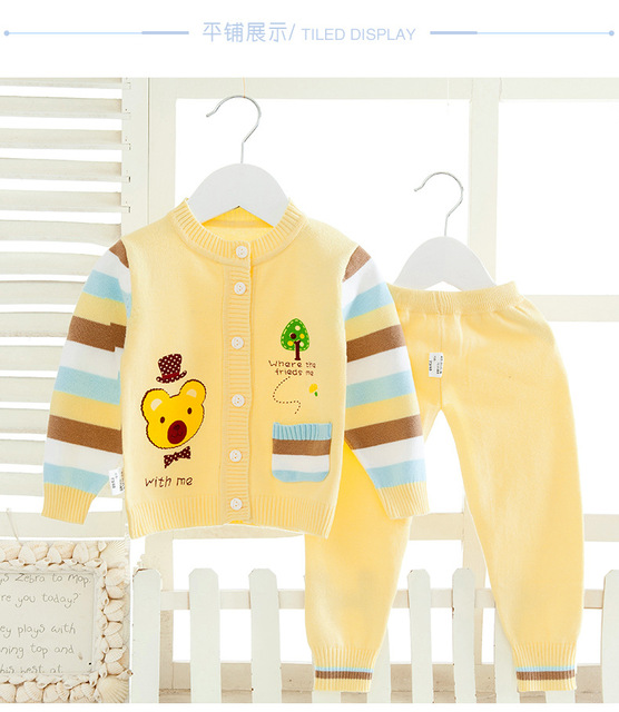 Knitted Sweater Cardigan Baby Boys Girls Clothes Set Baby Clothing