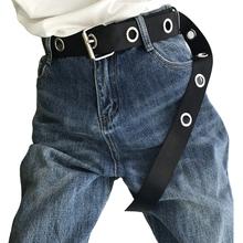 Long Personality casual Rivet circle black metal belts female students jean canvas waist belts tide silver