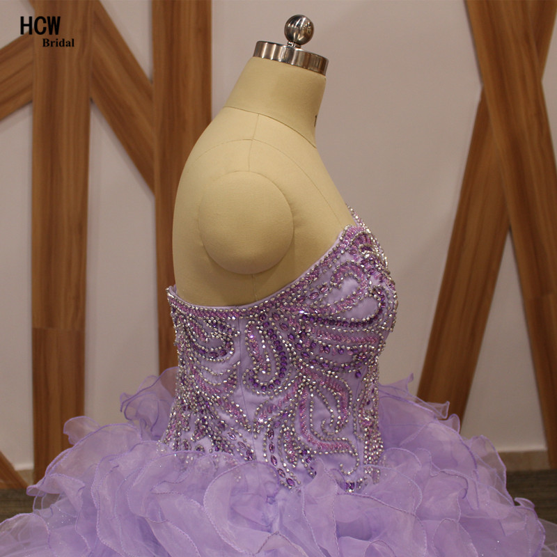 Lavendel pluss suuruses Quinceanera kleit, pitsiga kaelakristallid, - Eriürituste kleidid - Foto 5