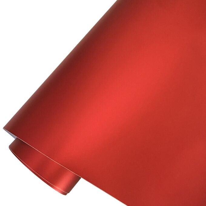 Матовый металлический хромированный виниловая пленка для автомобиля с воздушным пузырьком фиолетовая атласная металлическая наклейка из фольги для автомобиля обертывание ping покрытие - Название цвета: Red