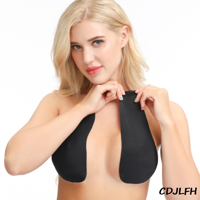 1Pair Women Self Adhesive Push Up Bra Silicone Nipple Cover Lift Tape Bra Sticky Women Invisible Brassie Strapless Blackless Bra