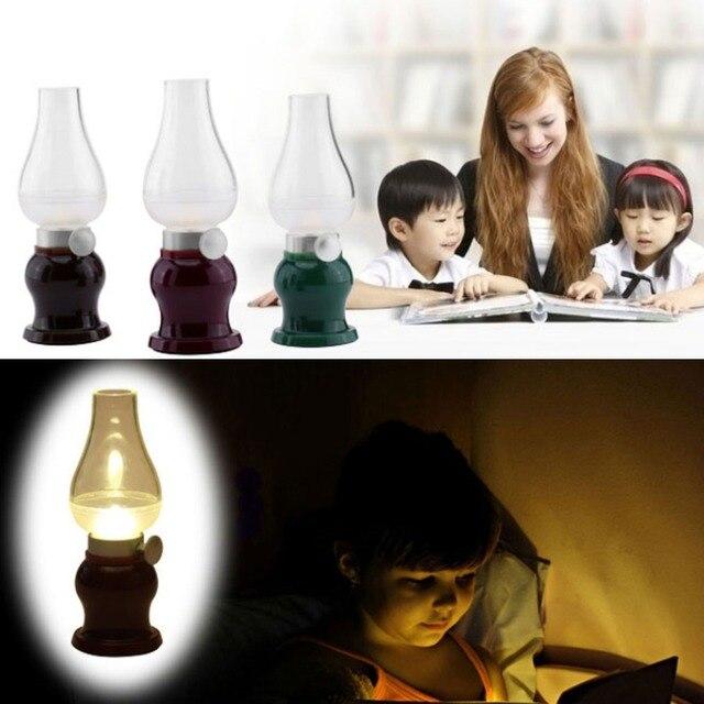 1 UNIDS Portable Kerosene Forma de Vela DEL LED USB Luz de La Noche de la Lámpara de Luz Blanca