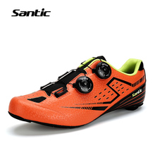Santic Male's Cycling Road Shoes with Carbon Fiber Bottom Light Bike Bicycle Riding Shoes Breathable Annular Alignment, 2 Colors