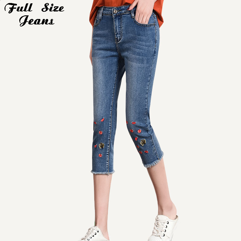 Women Plus Size Wintersweet Embroidery Skinny Capris   Jeans   7XL Summer Woman Female Stretch Calf Length Denim Shorts   Jeans   Pants