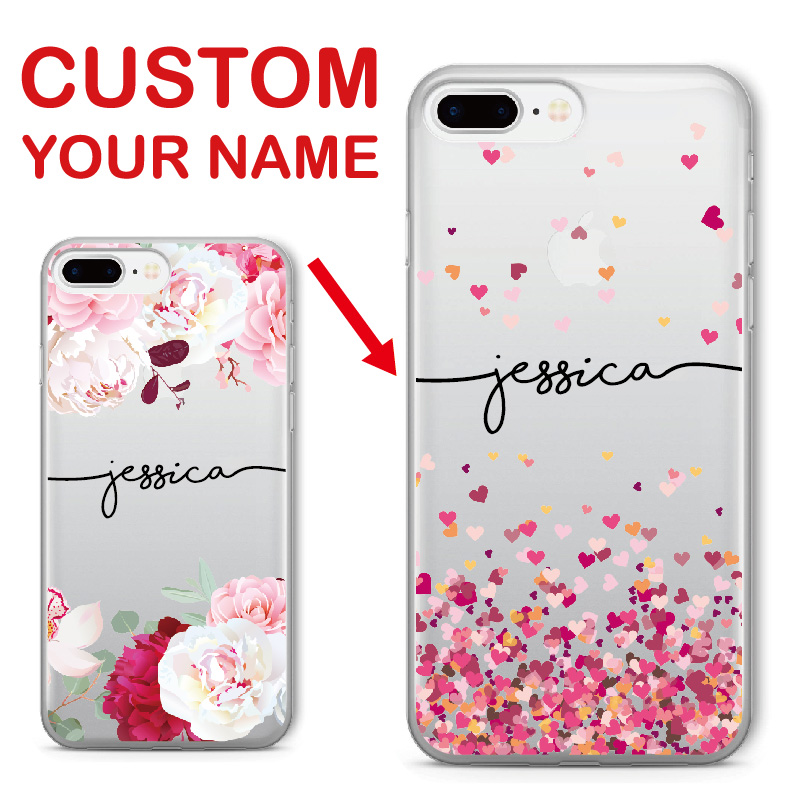 Personalized Custom Name Text Floral Soft Clear Phone Case For iPhone 6 6S 6Plus 7 7Plus 8 8Plus 5 X SAMSUNG Galaxy S7 S8 S9