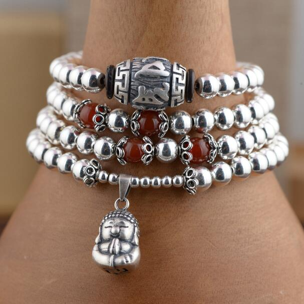NEW 925 Silver Tibetan Mala Silver 108 Beads Buddhist Prayer Rosary Beads Tibetan 108 Beads Mala OM Beaded Buddha Amulet aaa 4mm natural olivine beaded bracelet tibetan buddhist prayer beads necklace gourd mala prayer bracelet for meditation