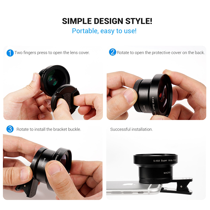 TURATA 2 in 1 HD Phone Len 52mm Calibre 37mm Kit Super 0.45X Wide Angle+15X Macro Clip-on Phone Camera Lens for Smartphone 6