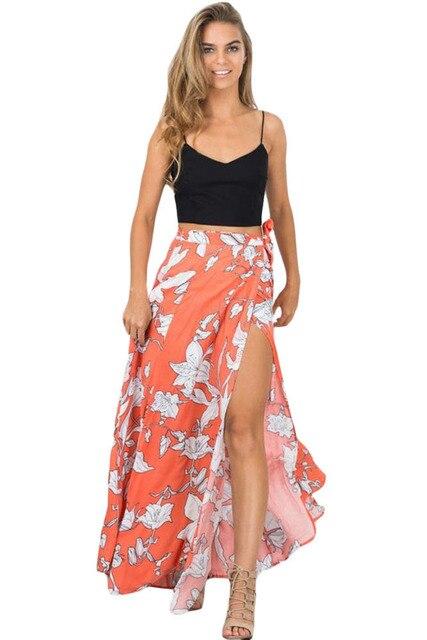 ad8b4391a27 Orange White Floral Maxi Skirt with Split omen Summer elegant beach maxi  skirt Boho high waist asymmetrical skirt