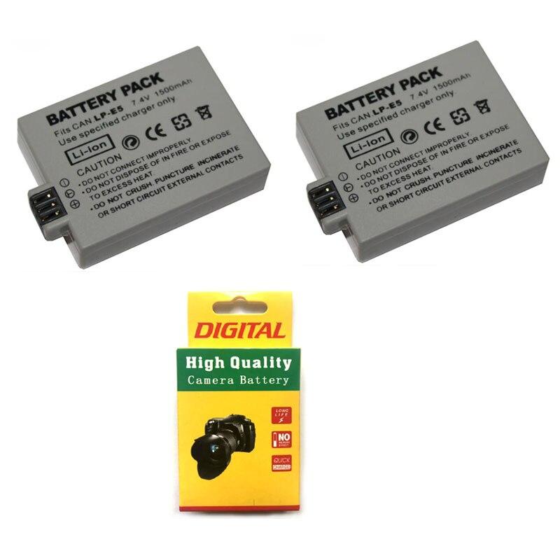 Lotto 2 Pcs 7.4 V 1500 Mah Lp-e5 Lpe5 Lp E5 Digitale Batterie Per Foto/videocamera Per Canon Eos 450d 500d 1000d Bacio X2 X3 F Rebel Xsi Xli Xs
