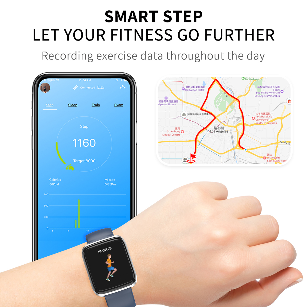 Smart Watch Bracelet Bluetooth Smartwatch 1 3 Inch Sport Waterproof Fitness Activity Tracker With Heart Rate Blood Pressure in Smart Wristbands from Consumer Electronics