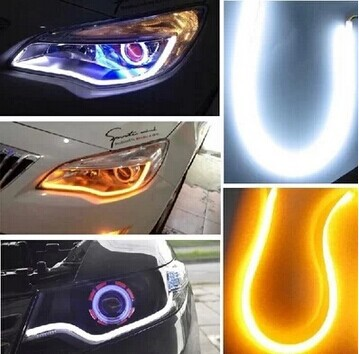 2pcs 60cm DRL Flexible LED Angel Eye Daytime Running Lights Car Head fog turn Signal lamps Parking lights Switchback Tube Style abtoys abtoys набор я дизайнер для вязания шарфов