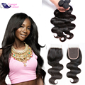 7A Brazilian Virgin Hair With Closure Soft Brazilian Body Wave 4 Bundles With Closure Good Cheap Human Hair with Closure