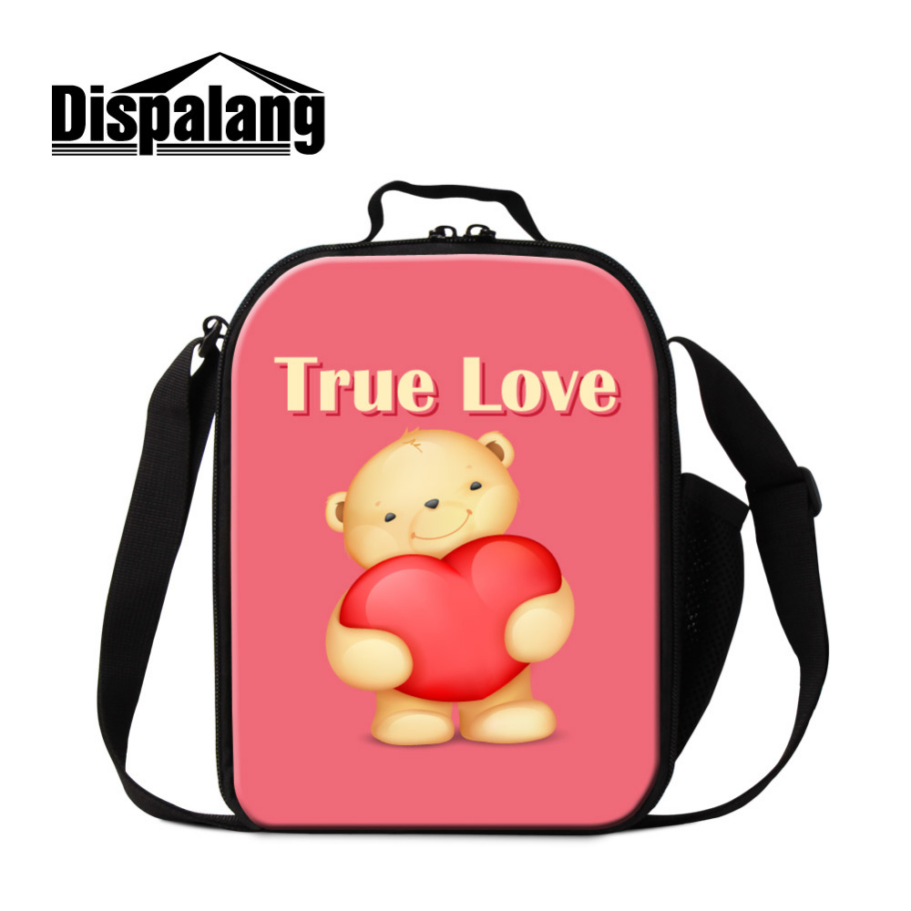 Dispalang Small Insulated Lunch Bags Cute Bee Printed Thermal Lunch Box Kids Cooler Lunchbag Picnic Food Bag Valentines Day Gift
