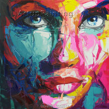 Palette knife painting portrait Face Oil Impasto figure on canvas Hand painted Francoise Nielly 14-44