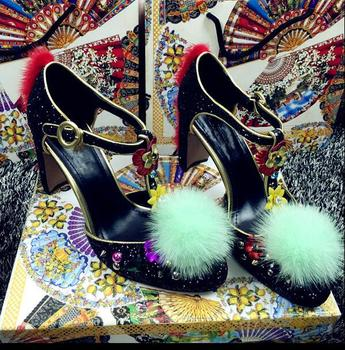 Studded high heels faux fur decoration 10cm high chunky heels women Spring Summer party silver gold flower shoes lace up heels