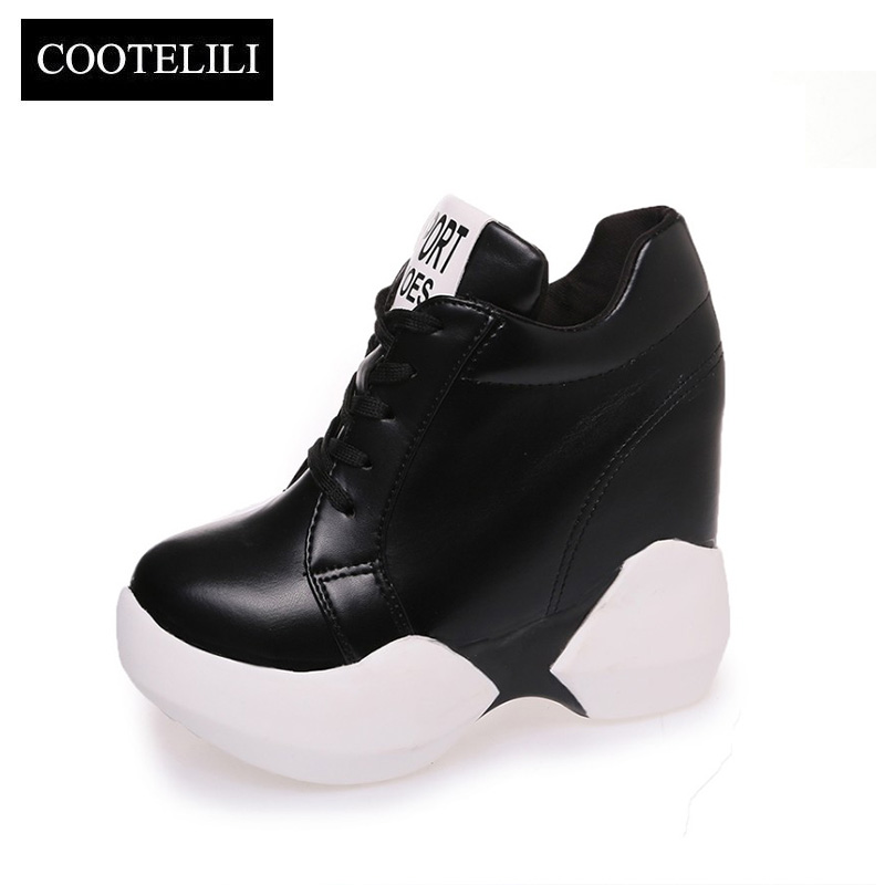 COOTELILI Autumn Women Sneakers Platform Inside Increased Internal Casual Shoes Woman Pumps Oxfords Lace up Black White 35-39 casual increased internal and lace up design athletic shoes for women