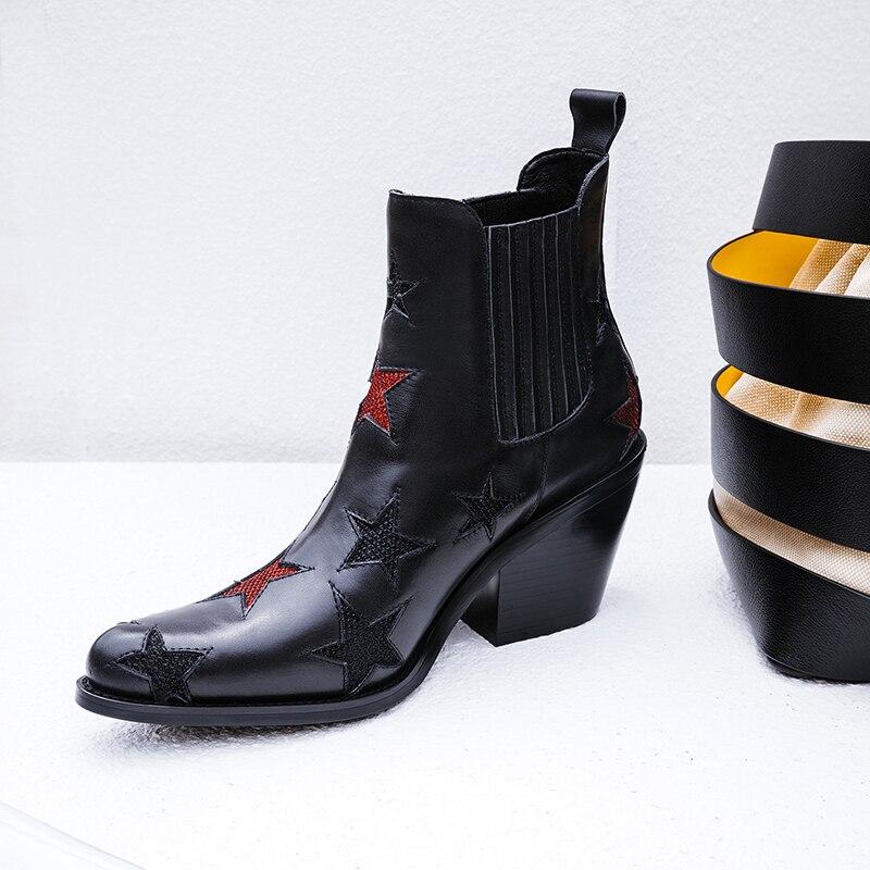 Negro Sexy Zapatos Botines Puntiagudo Estrellas Dedo Llegada Tachonado Cuñas En 2018 De Moda Las Black Mujeres Nueva Deslizamiento Señoras wIqp4an