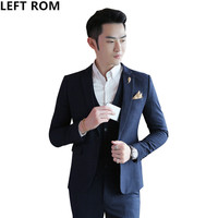 LEFT ROM Male Autumn And Winter Striped Fabric Man 2017 Slim Business Affairs A Button Wedding