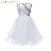 Branco Curto Vestidos de Baile 2017 Na Altura Do Joelho vestido de Baile Azul Preto Rosa Strapless Frisada Cocktail Party Vestidos Especiais Da Ocasião