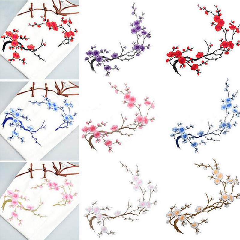 Embroidery Big Wintersweet Patches Flower Patches Cloth Paste Delicate Accessories Diy On Transfer For Shirt Coat Bag Applique