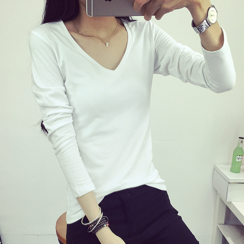 women Long-sleeved t-shirt female white bottoming shirt students V-neck tide autumn and winter clothing