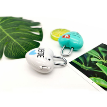 Love heart shape password lock Zinc alloy case mini code Luggage padlock 4 colors high quality Wide use Cute cartoon Lock