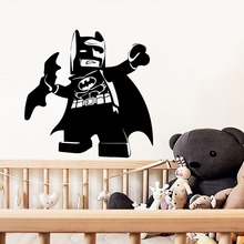 Купить с кэшбэком Creative Lego Batman Wall Stickers Cartoon Style Removable Wall Decals For Kids Room Baby's Room Decoration Wall Decor