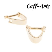 Cufflinks for Men Clip Style Wrap Lock Shaped Gold Color by Cuffarts C10153