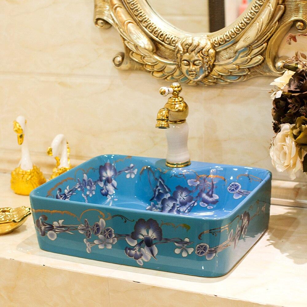 Scène bonsaï de porcelaine sanitaire évier lavabo lavabo art bassin carré bluebell LO618214