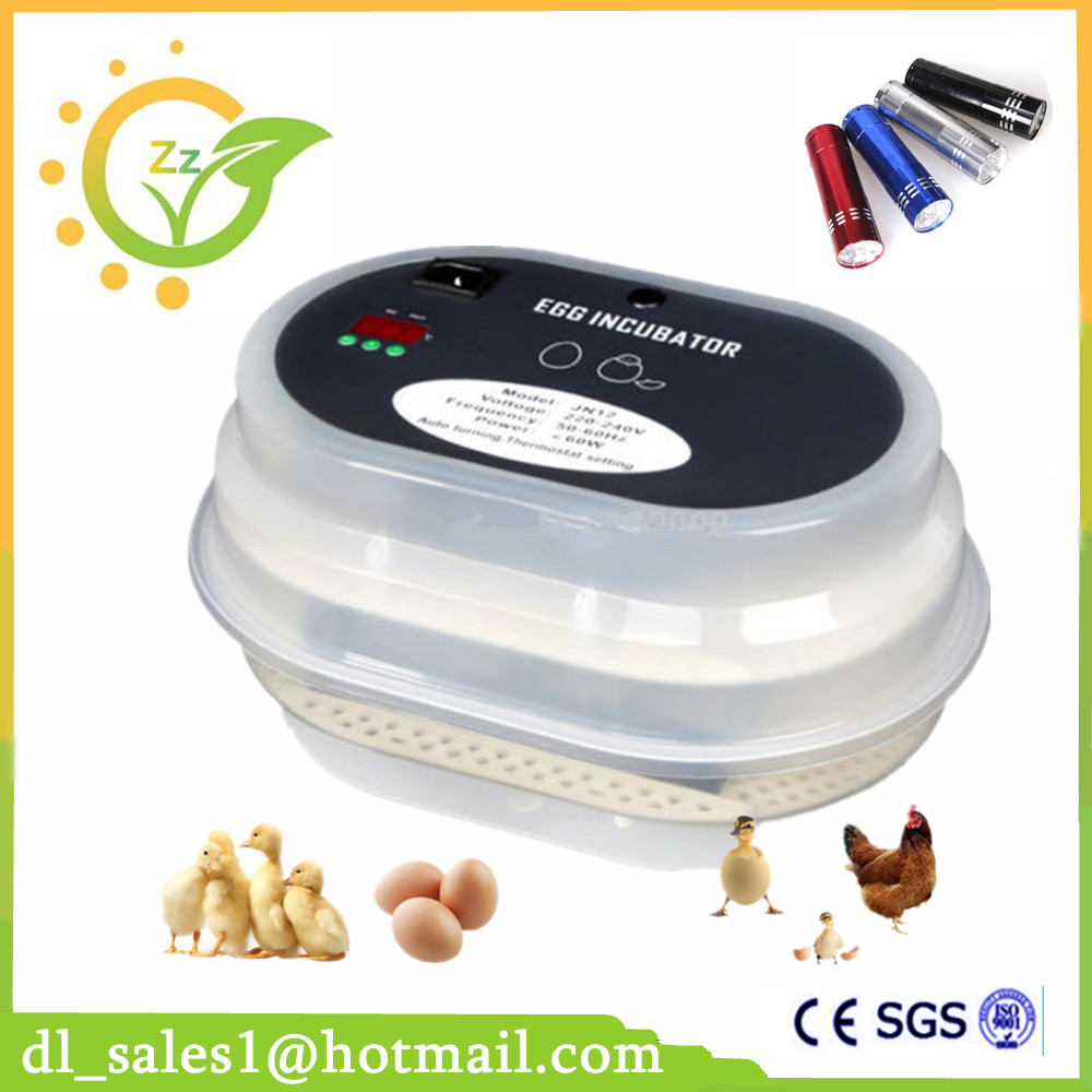 Newest Automatic 12 Poultry Egg Incubator High Hatching Rate Incubators + Gift Flashlight ce certificate poultry hatchery machines automatic egg turning 220v hatching incubators for sale