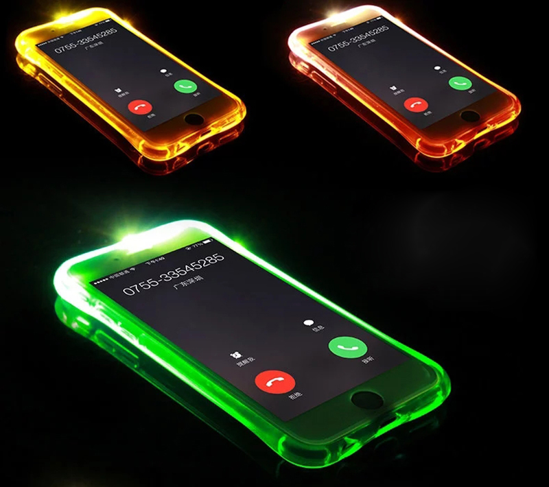 led iphone case luxury soft tpu led flash light up clear remind 12566