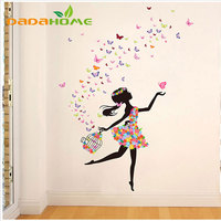Vinyl Butterfly Fairy Dance Living Room Bedroom Wall Decorations Glass Home Decorating Wall Art Wall Sticker