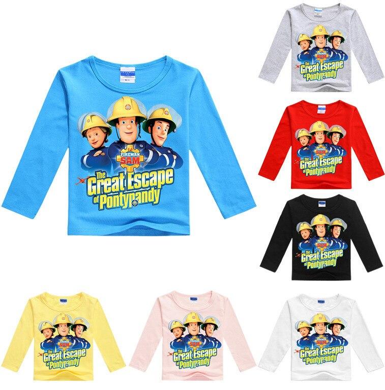 Fireman Sam Boys Girls Kids Spring Fall Long Sleeve T-shirt Top Cartoon Clothing