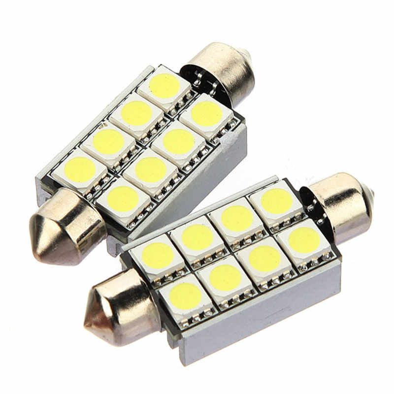New 42mm 8 SMD 5050 LED CANBUS Error Free Car License Plate Pure White Lights Reading Lamp Bulb Festoon Dome Lamp 12V