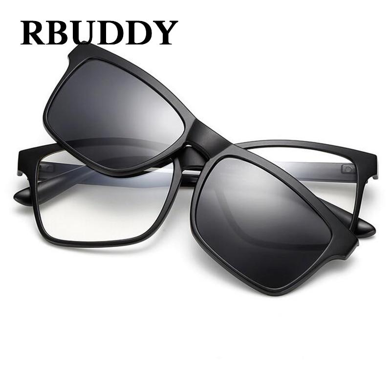 US $10.64 41% OFF|RBUDDY Magnet Sonnenbrille Männer Polarisierte clip auf sonnenbrillen Fahren Platz frauen klar brille rahmen nachtsicht brille