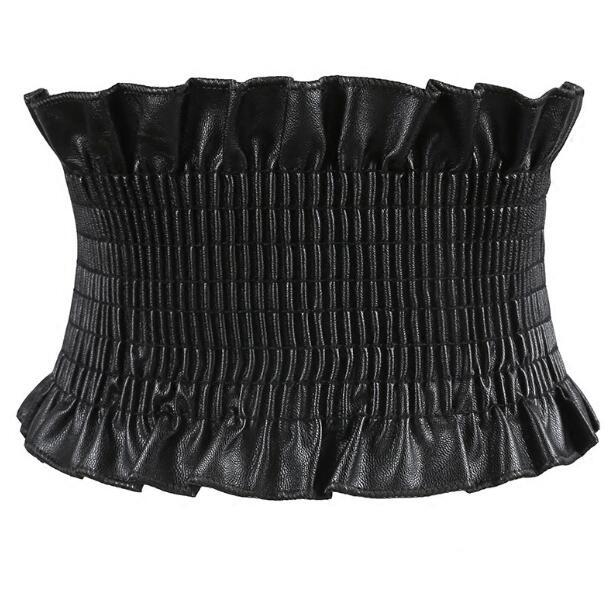 Women's Runway Fashion Elastic Pu Leather Cummerbunds Female Dress Coat Corsets Waistband Belts Decoration Wide Belt R1221