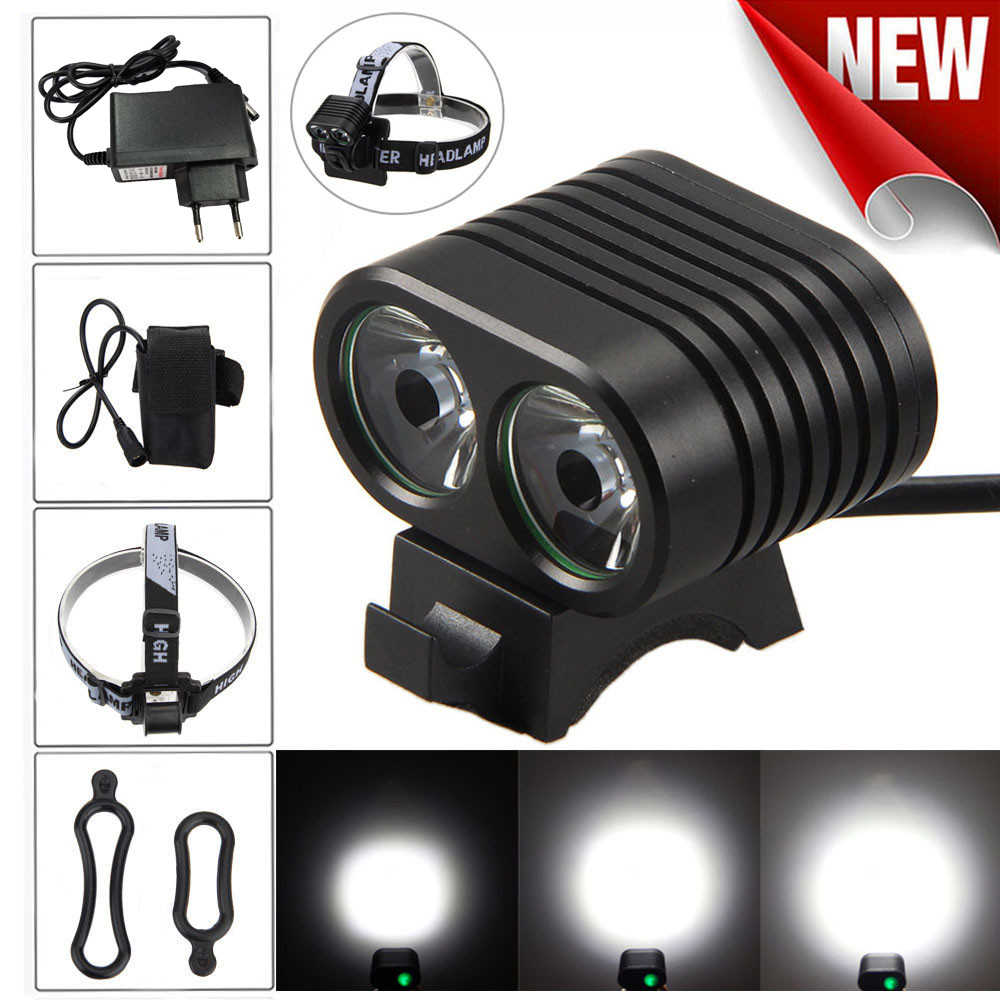 Super Bright 2x XM-L2 LED Bicycle Lamp Bicycle Bike Head Headlight+ Rear light For Bicycle Headlight Bike Accessaries DZ&50 super bright 8000lm 2x xm l2 led bicycle lamp bicycle bike head headlight bicycle front light rear light 8 4v battery pack m