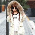 2016 New Girls Winter Coats Outerwear Children Down Jacket Fashion Big Raccoon Fur Collar Thick Warm Overcoat High Quality