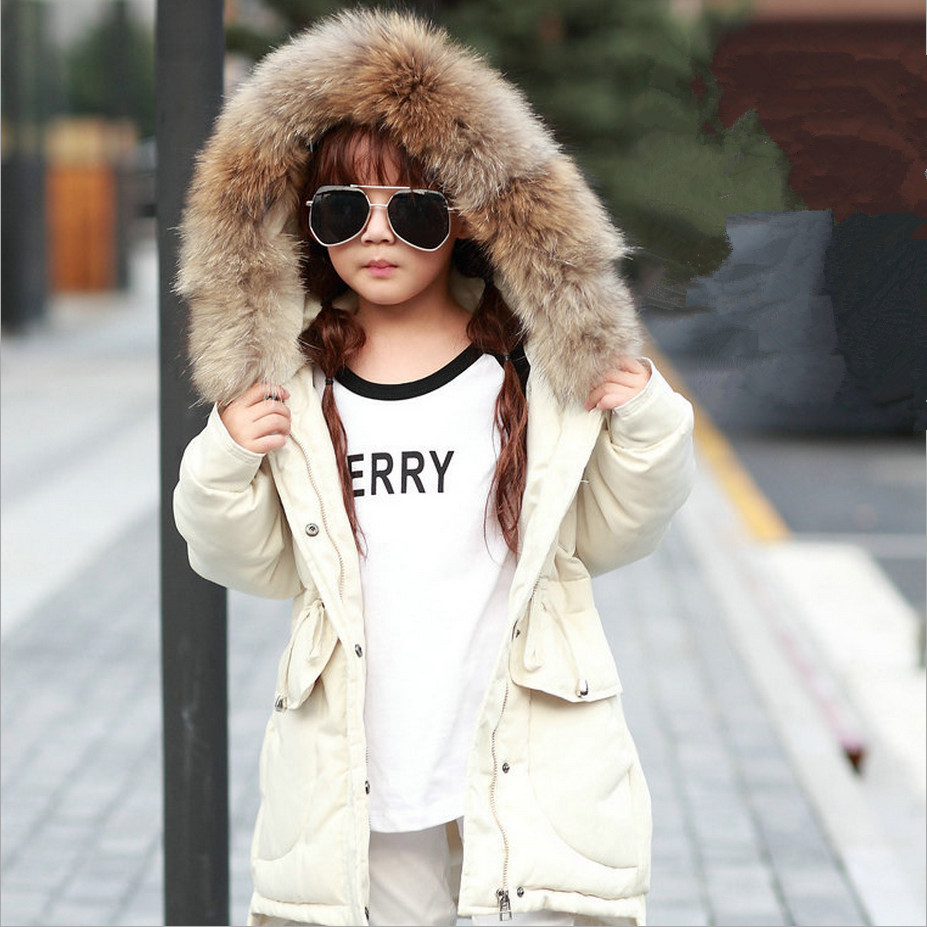 2017 New Girls Winter Coats Outerwear Children Down Jacket Fashion Big Raccoon Fur Collar Thick Warm Overcoat High Quality 5 colors 2017 new long fur coat parka winter jacket women corduroy big real raccoon fur collar warm natural fox fur liner