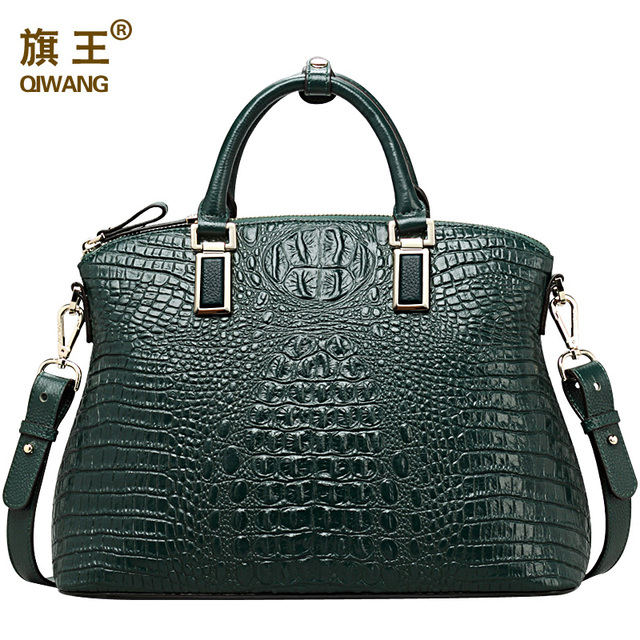 Qiwang Authentic Women Crocodile Bag 100% Genuine Leather Women Handbag Hot Selling Tote Women Bag Large Brand Bags Luxury 1