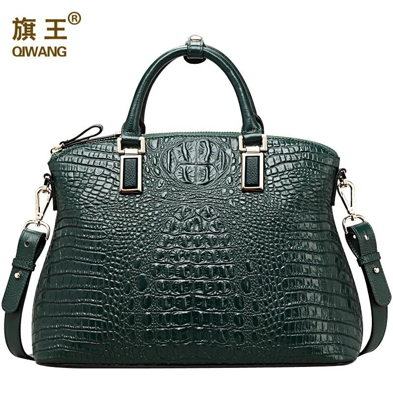 Qiwang Authentique Femmes Crocodile Sac 100% En Cuir Véritable Femmes Sac À Main Vente Chaude Fourre-Tout Femmes Sac Grande Marque Sacs De Luxe - 2