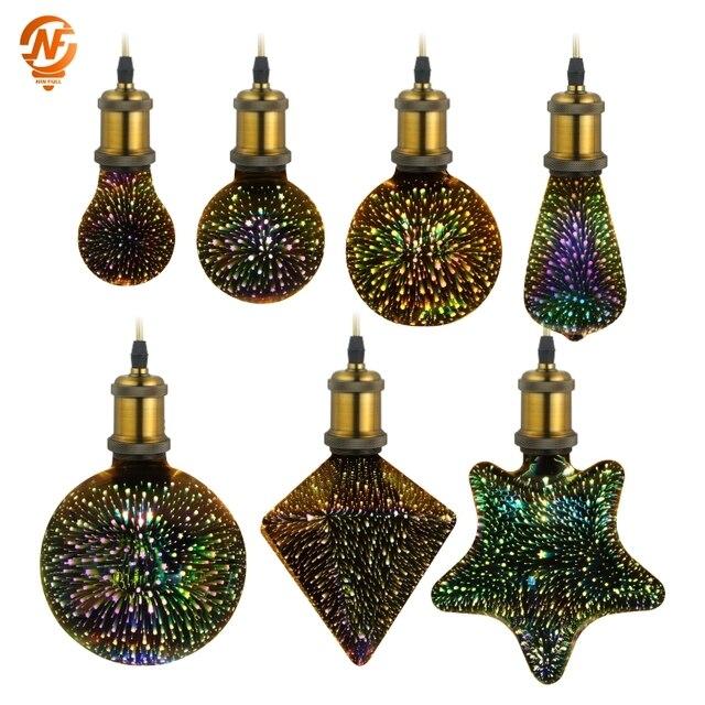 Led Bulb Star Fireworks 3D E27 Vintage Edison Night Light AC220V A60 ST64 G80 G95 G125 Holiday Novelty Decoration Lighting