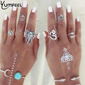 Moda Jóias Nova Prata Banhado Conjunto Anel Do Vintage com turquesa elefante números da sorte cobra geométrica anéis anel de dedo