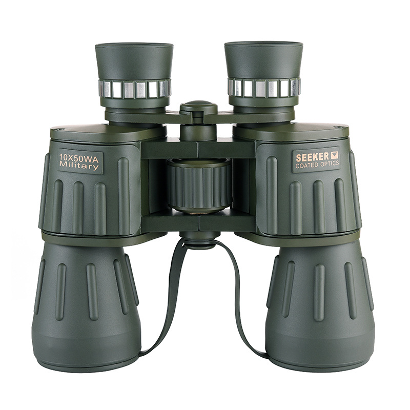 Seeker 10X50 WA Military Binoculars Professional Telescope Waterproof bak4 Hunting Powerful Binocular telescopio Army Green new