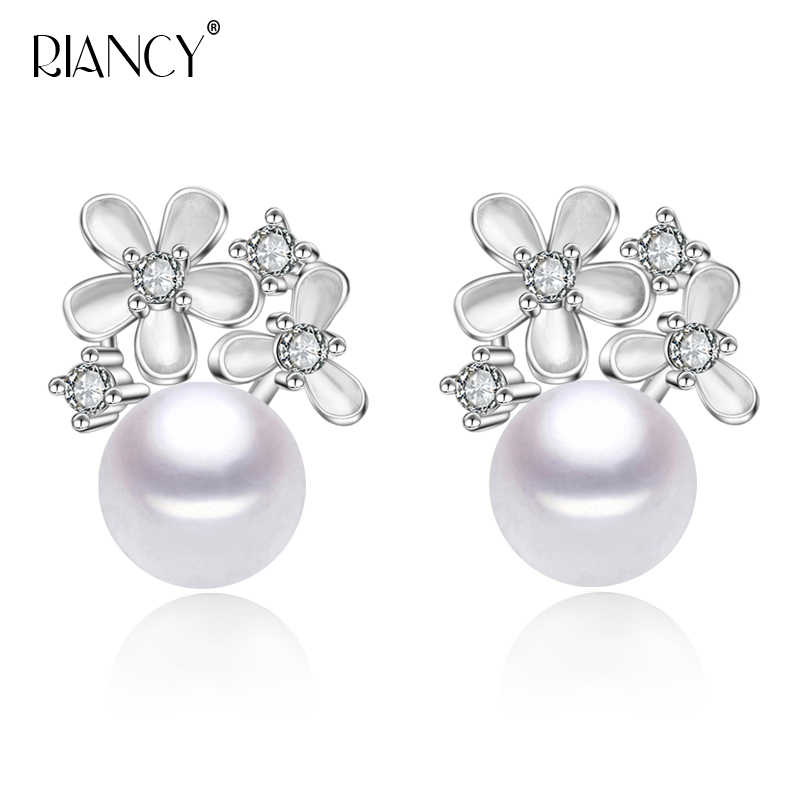 Fashion white  natural freshwater pearl 925 sterling silver earrings jewelry for women  birthday present gift