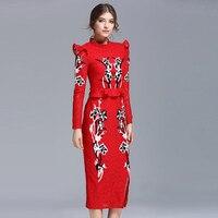 Fashion Retro Dresses 2017 Spring Elegant Full Sleeve Turtleneck Embroidery Women Red Grey Split Long Ladies