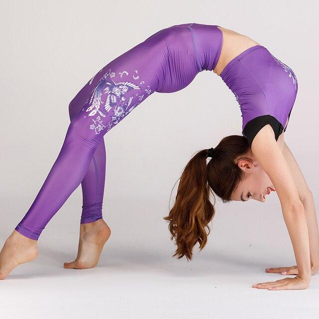 BINAND נשים של שני חתיכות יוגה חליפות למתוח מכנסיים חולצות יבול חולצות פוליאסטר ספורטוויר אימון כושר כושר כושר ספורט סט