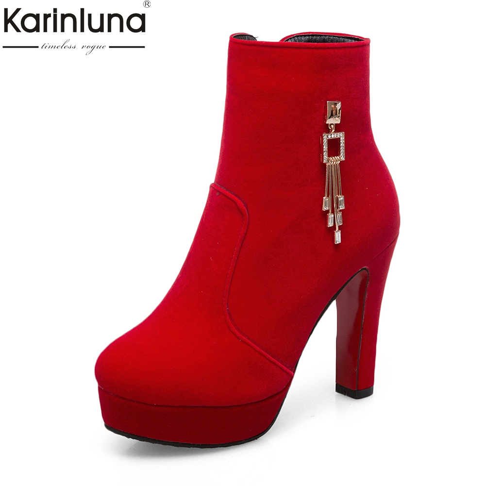 KarinLuna 2018 Metal Decoration Plus Size 34-43 Sexy Zip Up High Heels Party Boots Woman Shoes Platform Woman Ankle Boots plus size light up cosplay party skirt